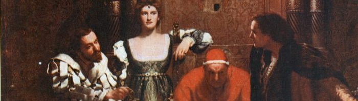 "John Collier's ""A Glass of Wine with Caesar Borgia,"" depicting Cesare and Lucrezia Borgias next to Pope Alexander. Cesare and Pope Alexander are seated, while Lucrezia stands."