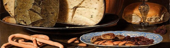 "A cropped version of Clara Peeters painting, ""Still Life with Cheeses, Almonds, and Pretzel."""